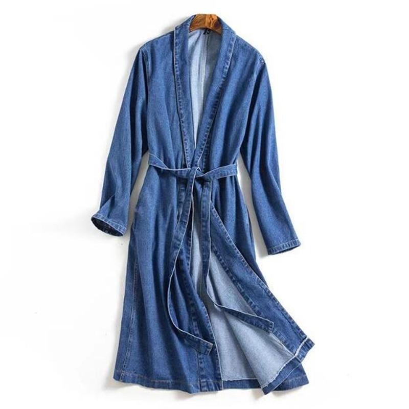 41510d3d3c2 2019 Vintage Lapel Side Pockets Blue Denim Kimono Sleeping Style Trench  Casual Women Belt Mid Long Windbreaker Coat From Feixianke