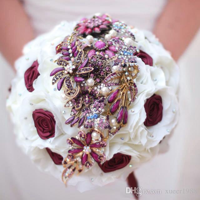 Iffo Nem 9 Inch Custom Bridal Bouquetvintage Brooch Bouquetred