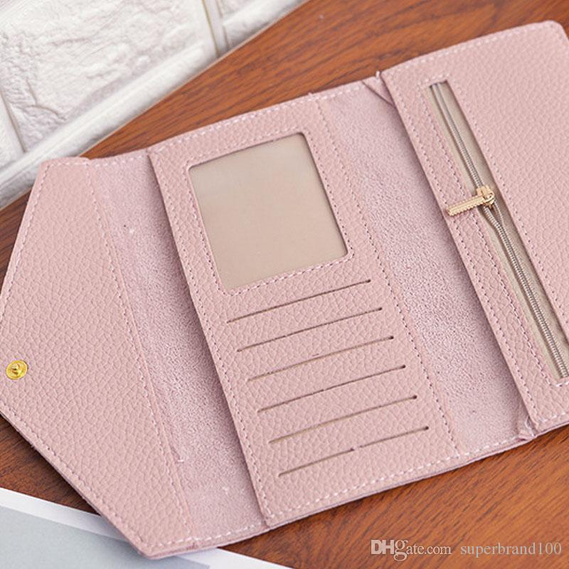Ferrolho Handbag New Pure Color Mulheres Carteira PU Leather Muitos cartões de bolsa Saco Longo Coin Purse