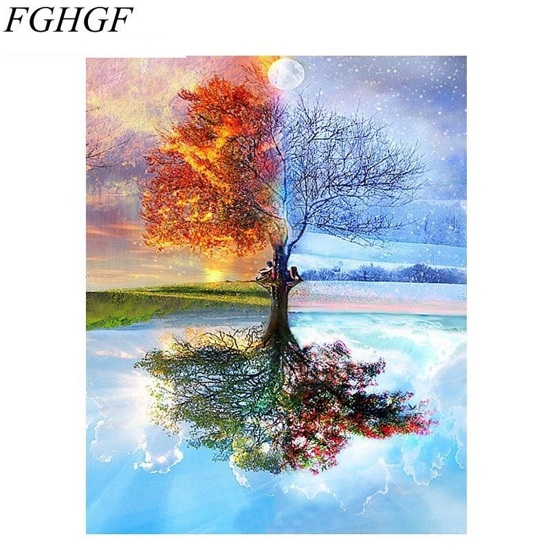 Satın Al Fghgf çerçevesiz Dört Mevsim Ağacı Manzara Diy Boyama By