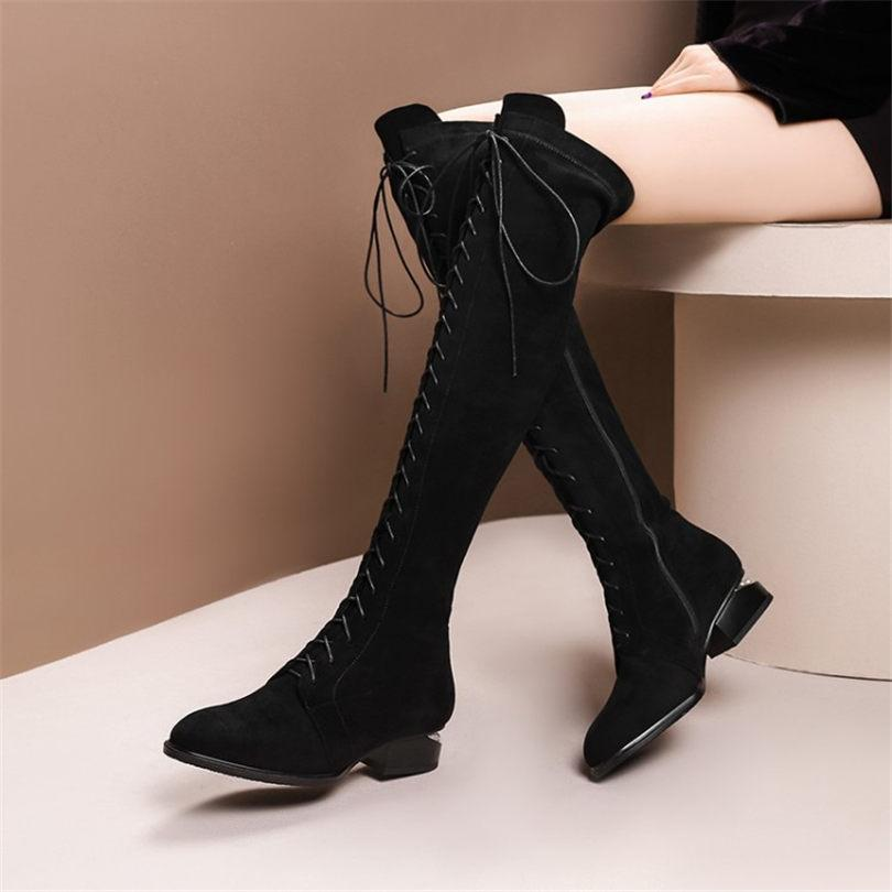 0c43fb3d531 NAYIDUYUN Thigh High Boots Women Black Faux Suede Lace Up Strappy Knee High  Riding Booties Low Heel Tall Shaft Punk Oxfords Shoe Shops Cheap Shoes For  Women ...