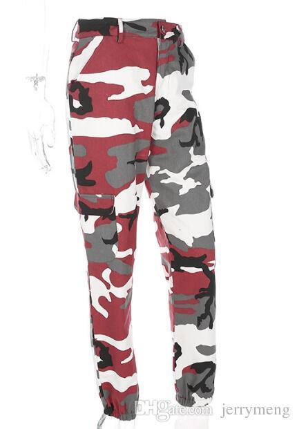 Pantalons de hip hop de mode femmes colorées pantalons de camouflage taille haute lâche Camo Pant Pantalon pour les femmes sarouel danse