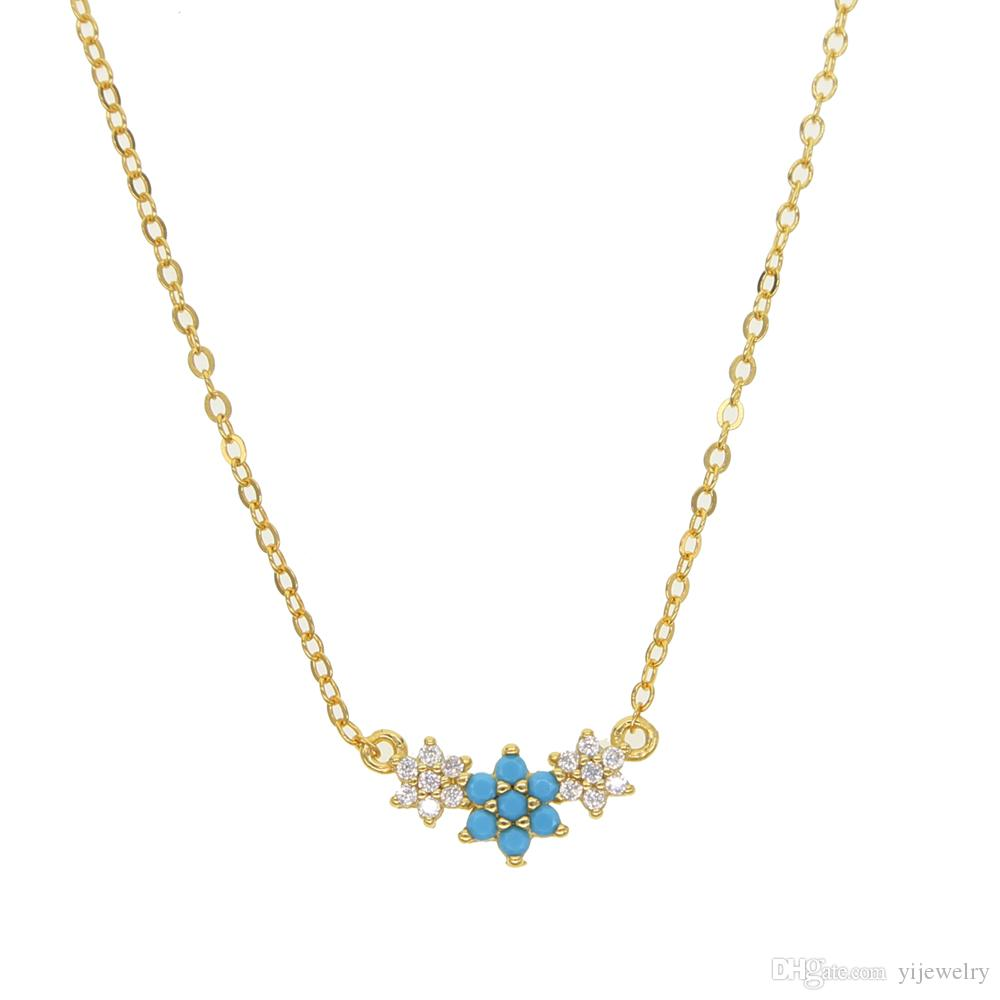 e8e7f0174bbe56 Wholesale White Cz Blue Turquoise Gemstone Elegance Three Flower Necklace  Lovelly 925 Sterling Silver Jewelry Minimal Dainty Silver New Jewelry  Personalized ...