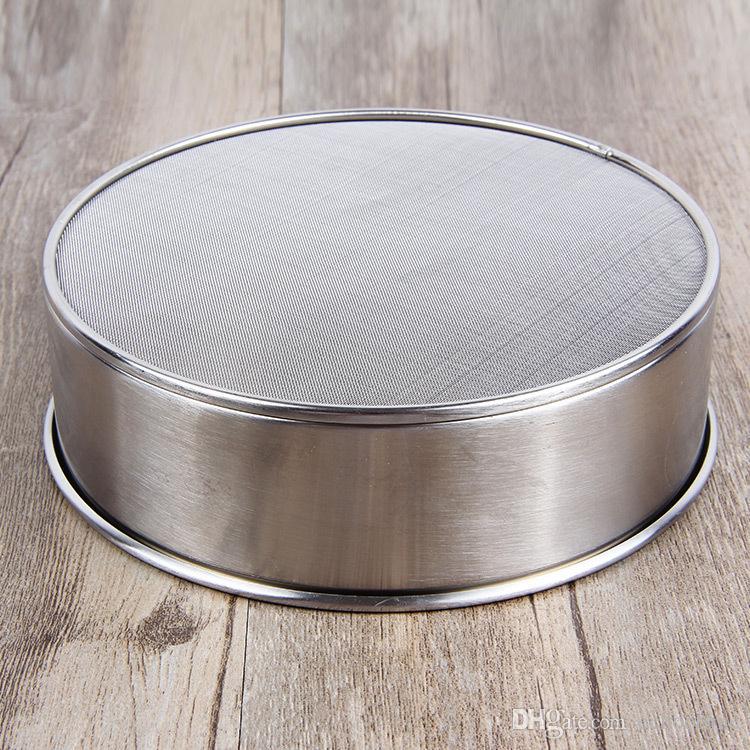 304 Tamiz de acero inoxidable Tamiz de malla Polvo de harina Colador Tamiz Manivela Tamiz de polvo de malla Tamiz de harina Herramientas para hornear