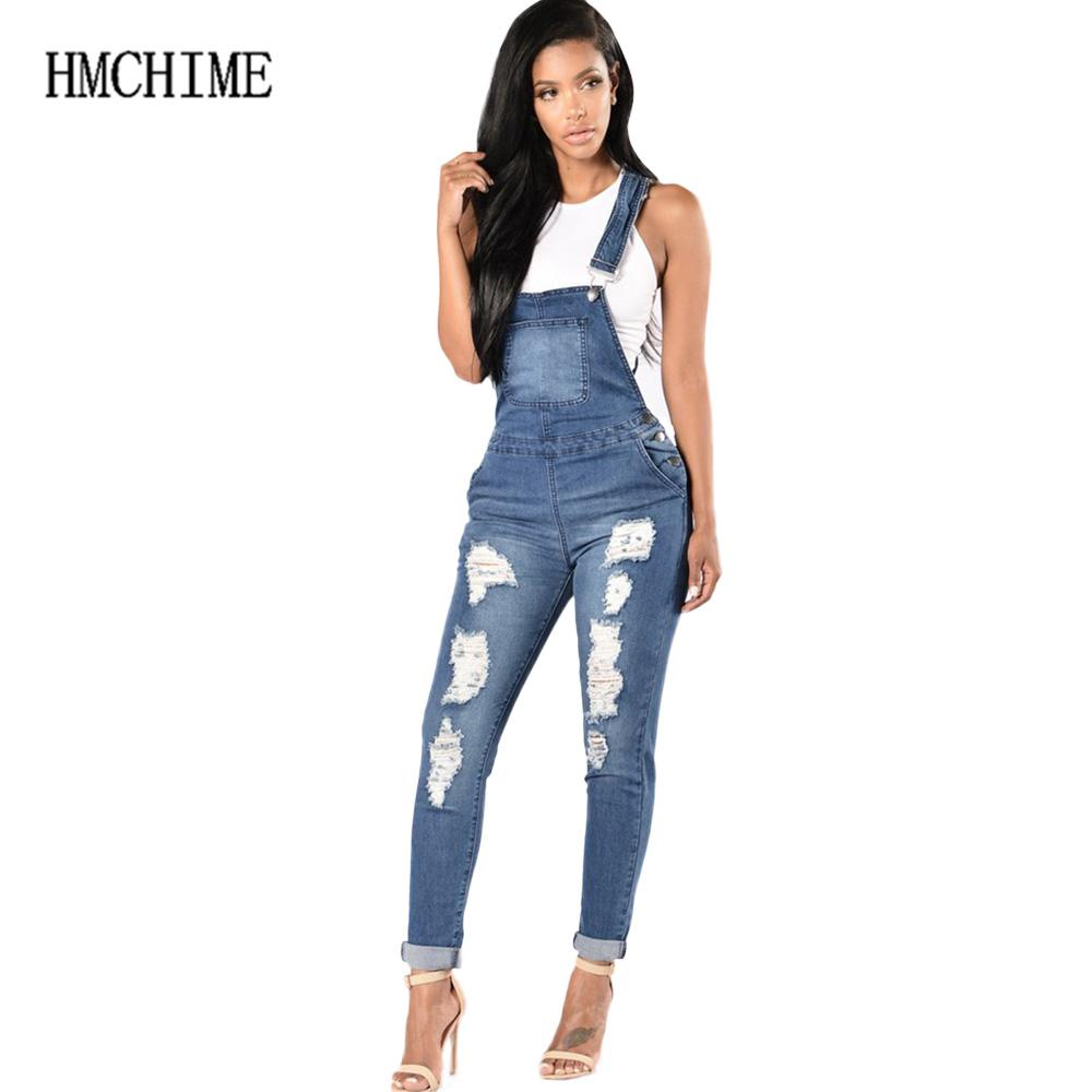 44d2ea409 2019 Elastic Fabric Women Suspender Jean Adjustable Plus Size Denim  Overalls Ripped Hole Cowboy Pants Patchwork Trousers ZB D146 From Tayler