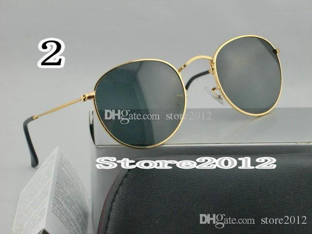 Hot sell Round Metal Mens Womens Sunglasses Eyewear Sun Glasses Designer Brand Gold Green 50mm Glass Lenses Excellent Quality with box