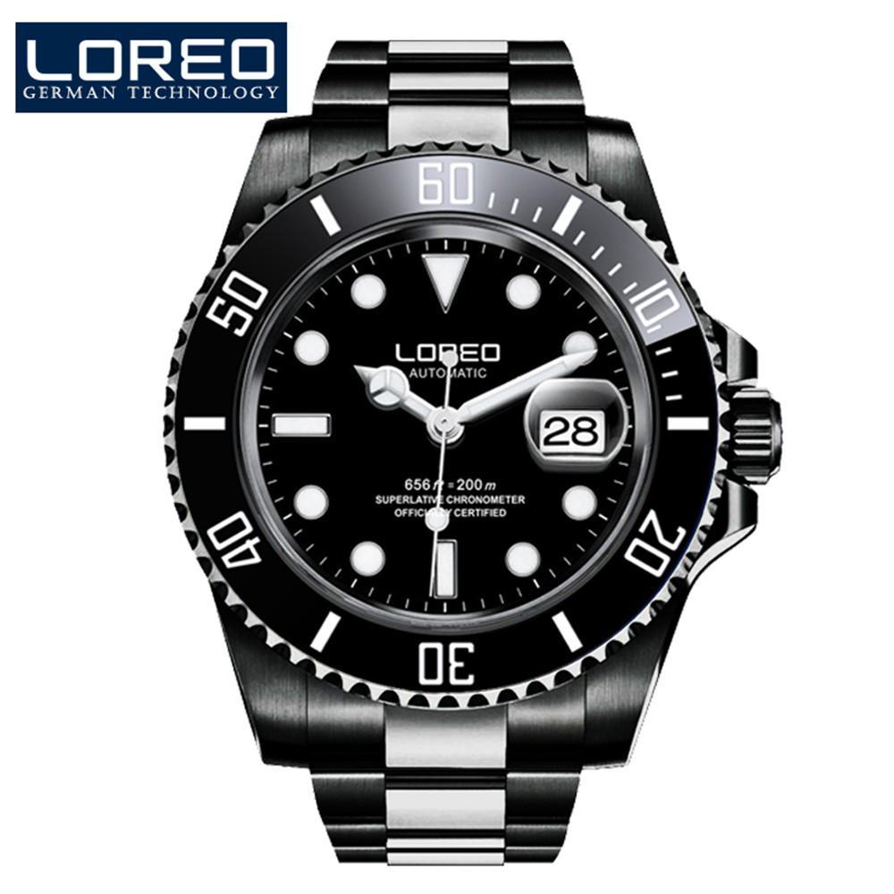 Marca M Mecánico Luminoso Loreo Diver Automática Diseño Impermeable Clásico Relojes De Acero Automático Hombres 200 Fecha Reloj lTF1JcK3