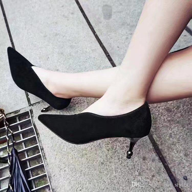 Women New Style Spring Leather Pointed Toes Slip on Black Single Shoes Girls Shallow Mouth Fashion Single Shoes Girls V Sexy High Heel