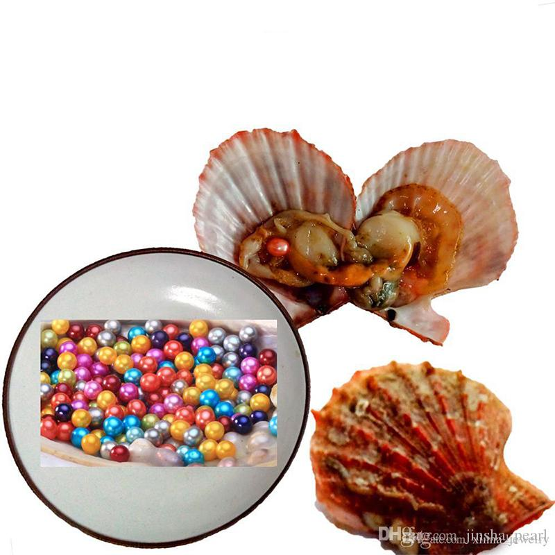 Free shipping Wholesale new 6-7mm round Oyster Pearl 25 mix color Rainbow shells Natural pearl Gift DIY Loose Decorations Vacuum Packaging