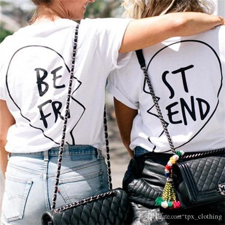 Best t shirt Cool words two friends short sleeve gown Street leisure tees  Unisex clothing Pure color cotton Tshirt