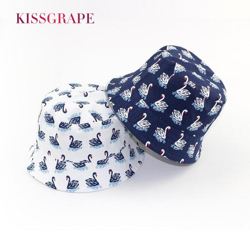 2019 2018 Spring Baby Boys Girls Cotton Bucket Hats With Swan Pattern Kids  Summer Breathable Sun Hat Wide Brim Sunscreen Hiking 0 5Y From Jianpin 9407050d6ef