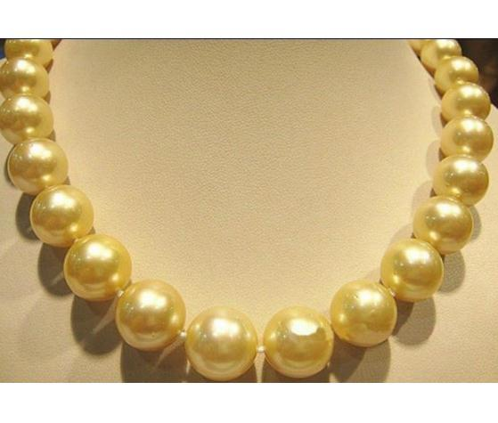 acd261c6c3bc9 Wholesale AAA 10-11mm Natural South Sea Golden Pearl Necklace 18 Inch 14k  Gold Clasp