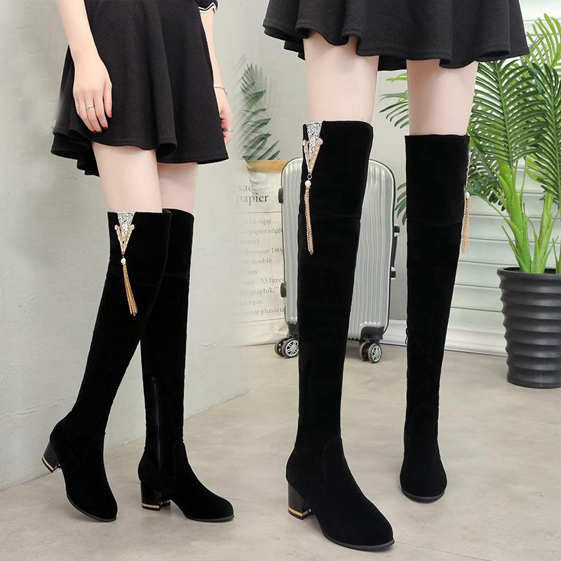dd3411bb27a7b Women Stretch Slim Leg Boots Fashion Chain Fringe Thigh High Booties Bling  Crystal Thick Heel Over