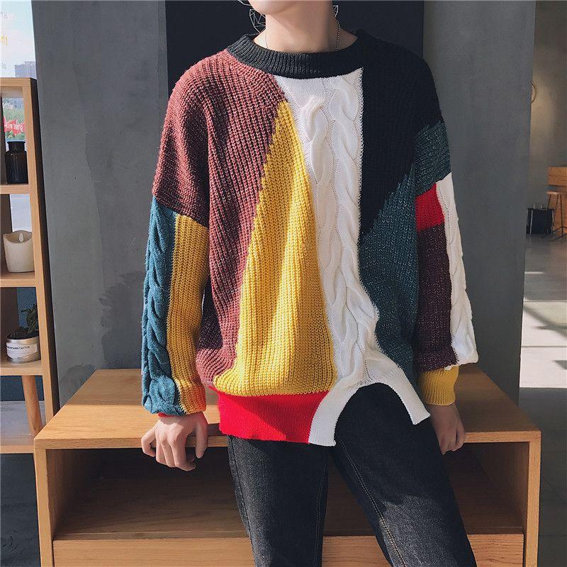 Großhandel 2017 Winter Neue Muster Mode Männer Nähen Farbe Grob ...