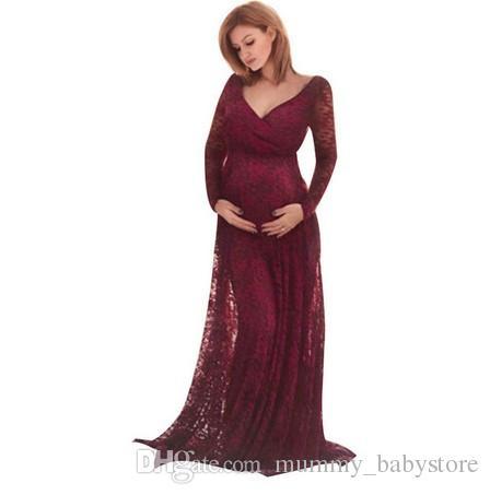 b5fe6daf35 Compre Nuevo Vestido De Maternidad Para Sesión De Fotos Vestido De Encaje Rojo  Vestidos Atractivos Ropa De Maternidad Accesorios De Fotografía Ropa Para  ...