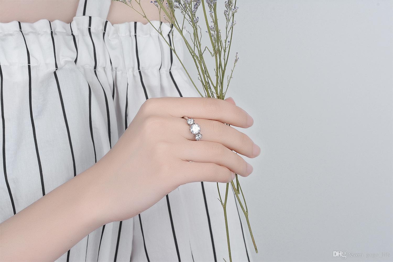 Weiße Kristallringe für Frauen Fianit Uloveido