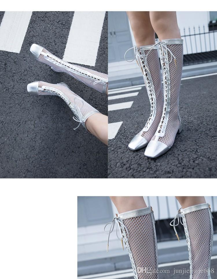 2018 New list spring and summer catwalk models with hollow transparent sexy low-heeled suede boots square head lace genuine leather shoes