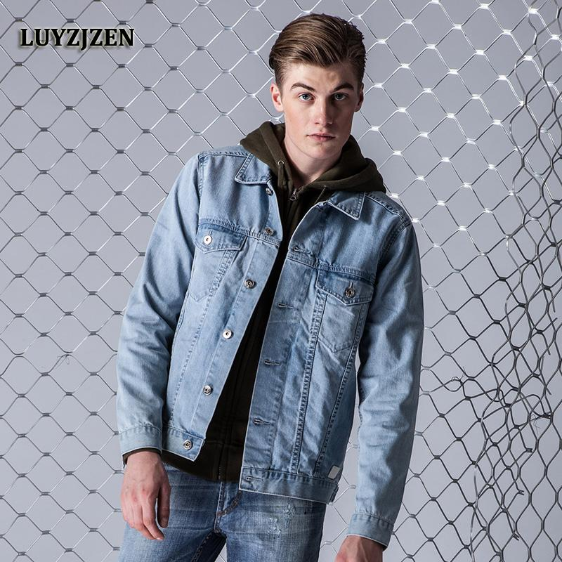 2017 New Arrival Denim Jacket Coat Men Light Washed Denim Jacket