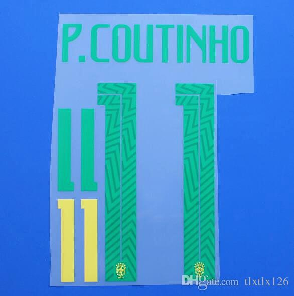 2018 COPA DO MUNDO Seleção Brasileira G.JESUS NEYMAR JR soccer Nameset Personalizar Nome A-Z Number 0-9 Imprimir Football Player font nameset patch