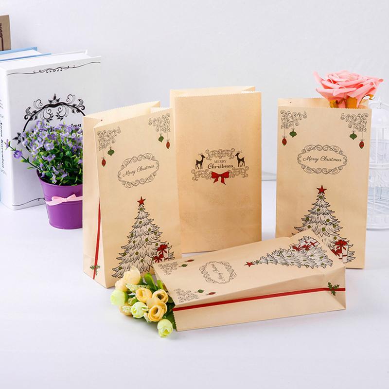 Großhandel 10 Teile / Paket Weihnachten Kraftpapiersack Brown Party ...