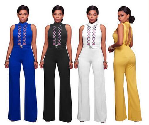 f00d6aad484f 2019 Ladies Evening Party Long Jumpsuit Sexy Backless Lace Wide Leg ...