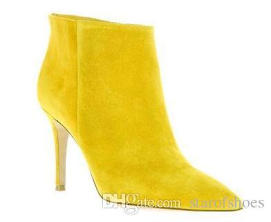 2018 Autunno Inverno Donna Stivaletti tacchi alti in pelle scamosciata stivaletti giallo punta a punta scarpe da festa nuova moto bota