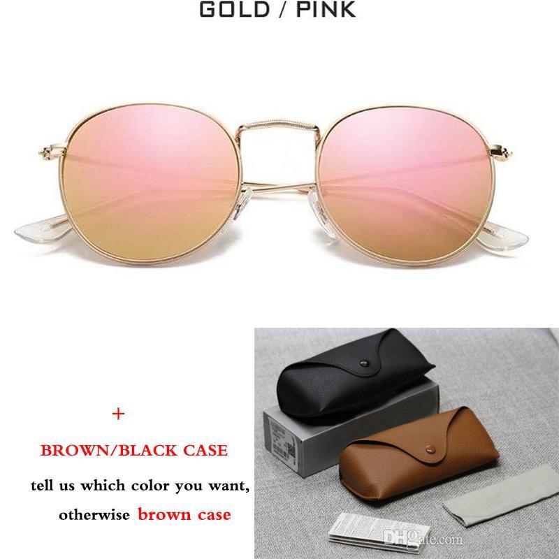 Yeni Klasik 3447 Yuvarlak Metal Tarzı Güneş Gözlüğü Erkek Kadın Vintage Retro Marka Tasarım Güneş Gözlükleri ulculos De Sol ile kahverengi vaka