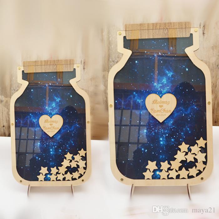 custom wedding guest book unique top drop heart mason jar guest book