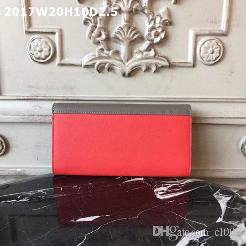 En kaliteli kadın cüzdanlar düz gerçek deri eğik kapak fermuarlı cep iç katmanları orijinal kutular ile kartlar için yuvası