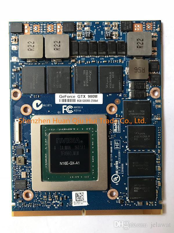 Carte de GPU graphique libre de DHL originale GTX980M GTX 980M N16E-GX-A1 8 Go GDDR5 pour le remplacement de GPU de carte vidéo de Alienware Clevo GT180