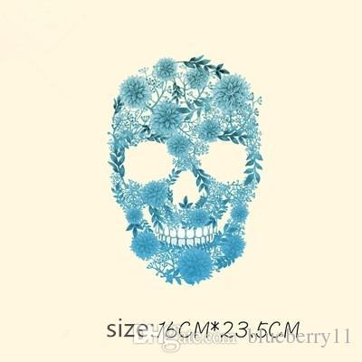 Nähen Vorstellungen Werkzeuge Mode Schädel DIY Aufkleber 16 * 23,5 cm Patches T-Shirt Pullover Eisen auf für Kleidung