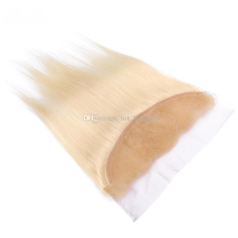 # 613 светлые человеческие волосы пучки с фронтальной закрытия отбеливатель блондинка прямые индийские девственные волосы плетет с 13x4 кружева фронтальный 3 шт. Много