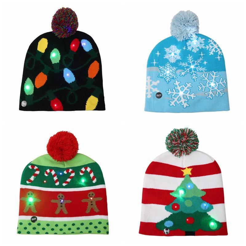 Compre LED Navidad De Punto Sombrero Niño Adultos Santa Claus Muñeco ...