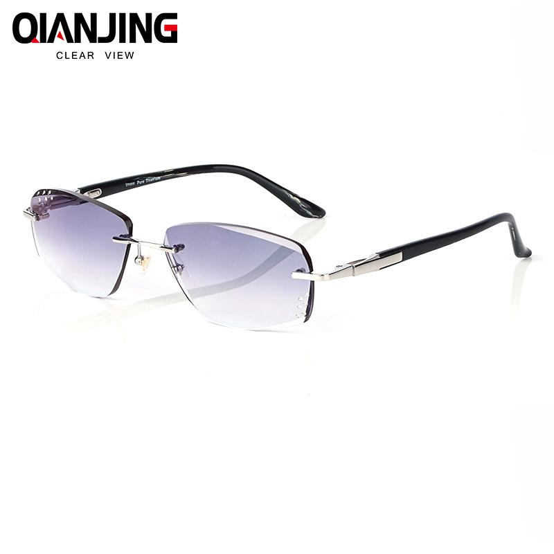 fb42165ca3 2018 Summer Style Fashionable Trimming Rimless Men s Complete Prescription  Sunglasses With Rhinestones On Lenses Frame Hyperopic Online Eyeglasses  Discount ...