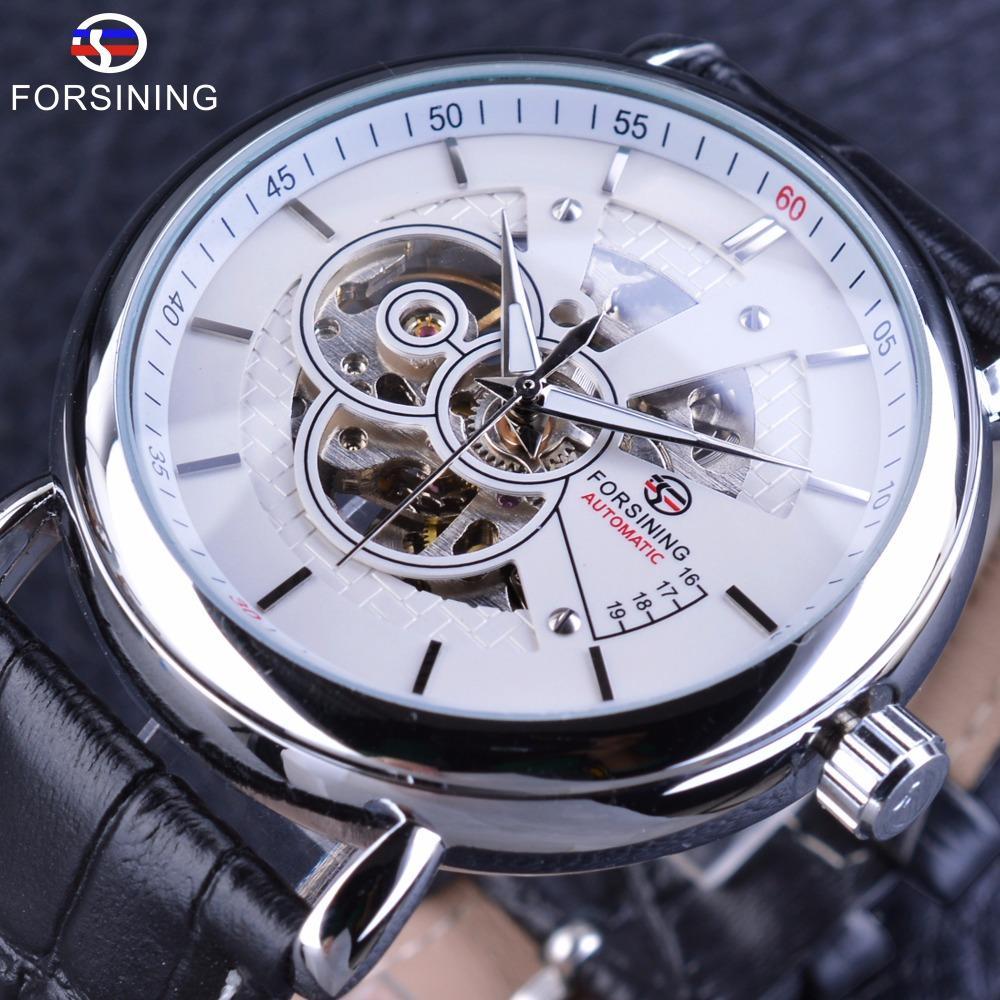 01fc2a3a700 Compre Forsining Projeto Britânico Cinto De Couro Meio Esqueleto Trabalho  Aberto Caso Transparente Auto Vento Homens Relógios Automáticos Top Marca  De Luxo ...
