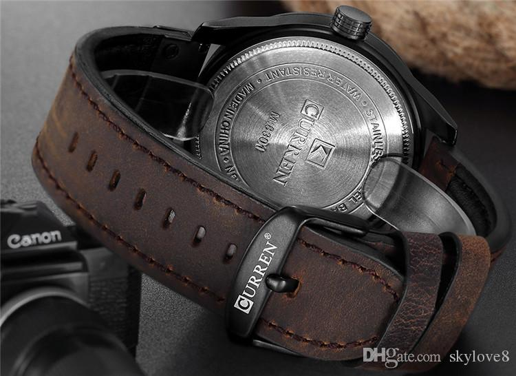 New Model CURREN8301 Mens Watches Brand Luxury Clock Male Leather Strap three Dial Military Waterproof Wristwatch Men Quartz Thin Watch