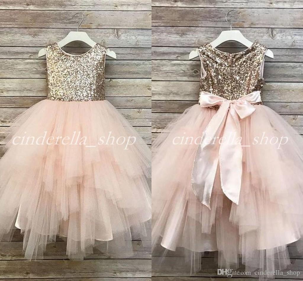 003c98f58 2018 vestido de bola de lentejuelas dorado vestidos de niña de las flores  para bodas arco de la correa de la joya niñas puffy vestido del desfile ...