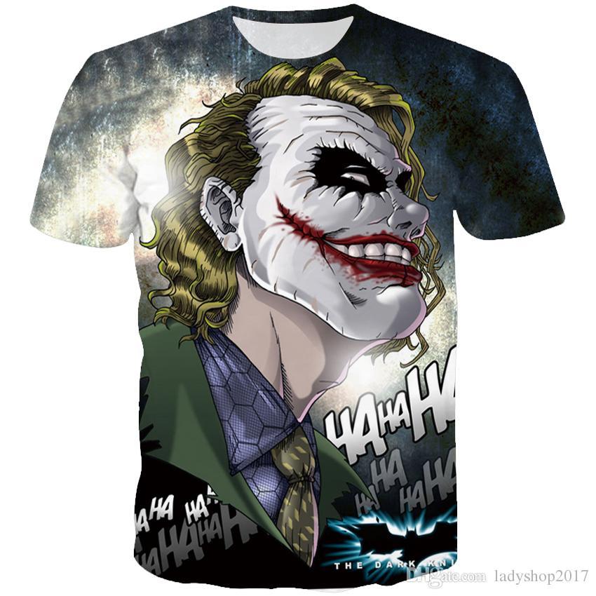 1862efcb0cc Personalidade homens t-shirt joker 3D Imprimir Cool PatternTee camiseta de  Manga Curta Casuais Em Torno Do Pescoço Camisetas