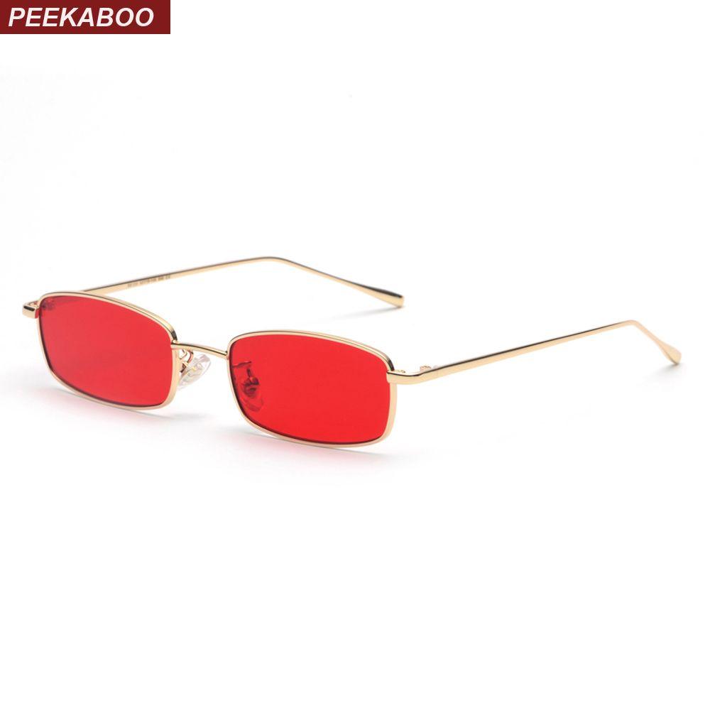 Compre Peekaboo Pequeño Rectángulo Gafas De Sol Hombres Lente Roja ...