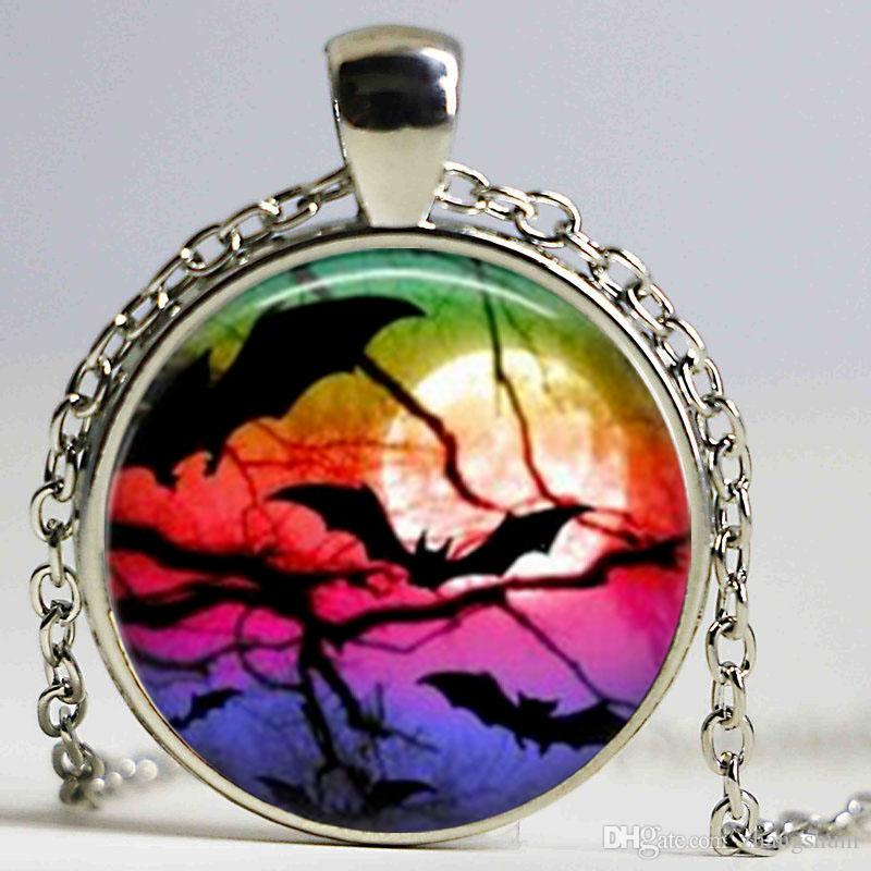 New Fashion Glass Cabochon Dome Jewelry Black Raven Necklace Halloween Bat Pendant Picture Necklace
