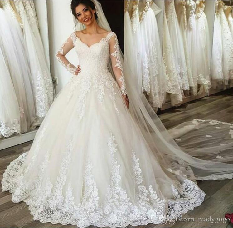 901c1c9af0f1 Discount Long Sleeve Wedding Dresses 2019 Modest V Neck Full Lace Applique  Sweep Train Dubai Arabic Princess Church Wedding Gown Wedding Dress Sale  Wedding ...