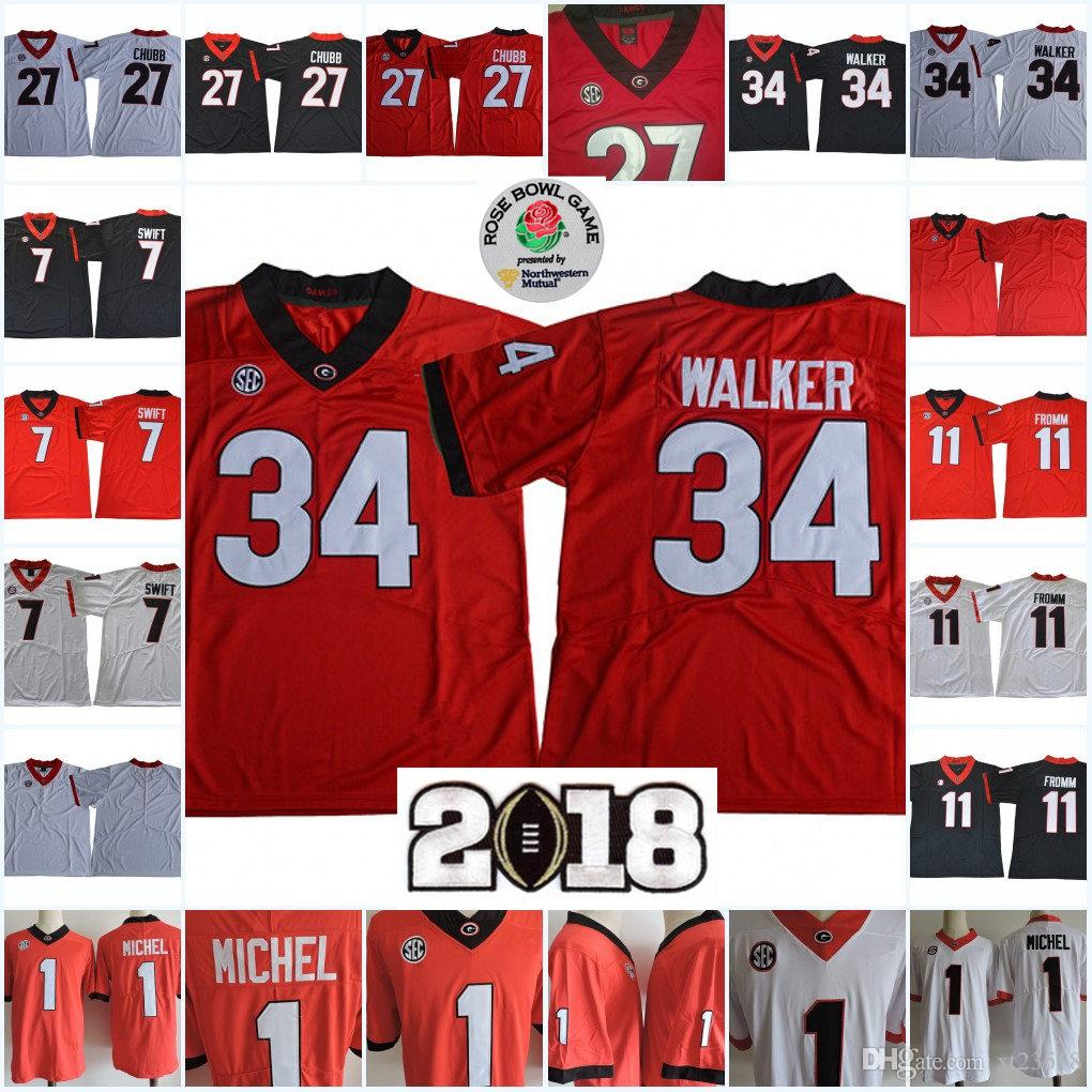 20098119b 2019 NCAA Georgia Bulldogs Jake Fromm Football Jerseys Nick Chubb Herchel  Walker Sony Michel DAndre Swift Bulldogs 2018 Championship Bowl Jersey From  ...