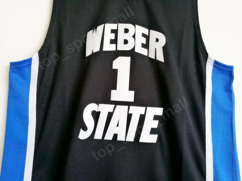 Weber State Damian Lillard Jersey 1 University Black Color Men BasketBall Lillard College Jerseys traspirante i fan dello sport alta Qualit