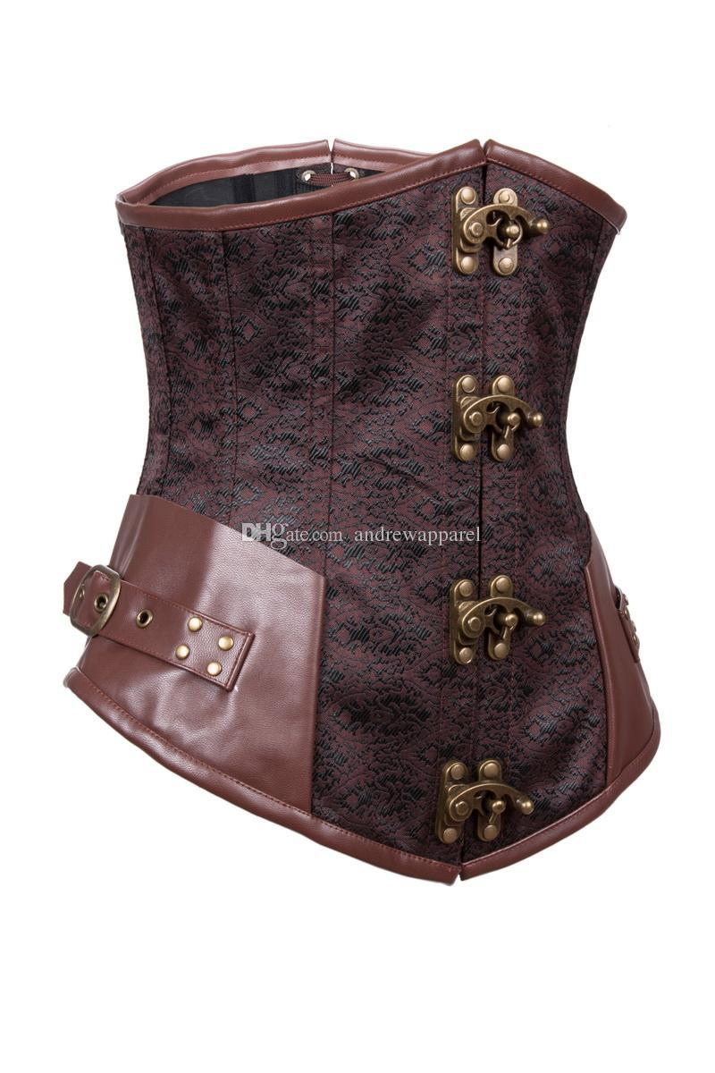 5aed9daa60 Women Bustier Faux Leather Brown Buckles Satin Lace Up Corset Women  Steampunk Steel Boned Lingerie Underwear Online with  38.26 Piece on  Andrewapparel1 s ...