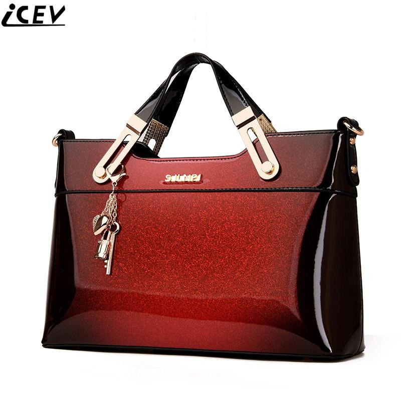 2018 Designer Handbag High Quality Patent Leather Female Tote Bags