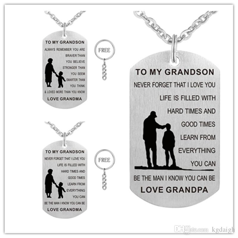 grandpa grandma to my grandson dog tag necklace never forget i