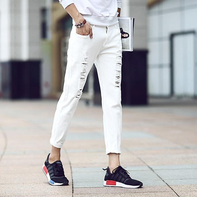 2019 2018 New Streetwear Knee Holes Skinny Jeans Men White And Black  Straight Stretchy Pants Torn Slim Fit Jeans Male Ripped Trousers From  Manxinxin,