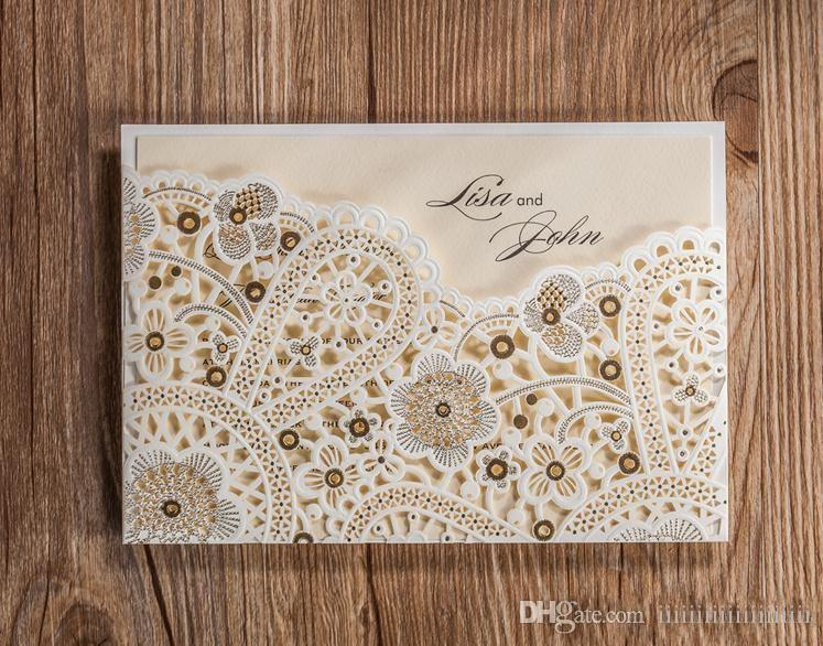 Wholesale CW5181 White Foil Laser Cut Wedding Invitation Printable Customized Greeting Birthday Card Christmas Cards Free Online From