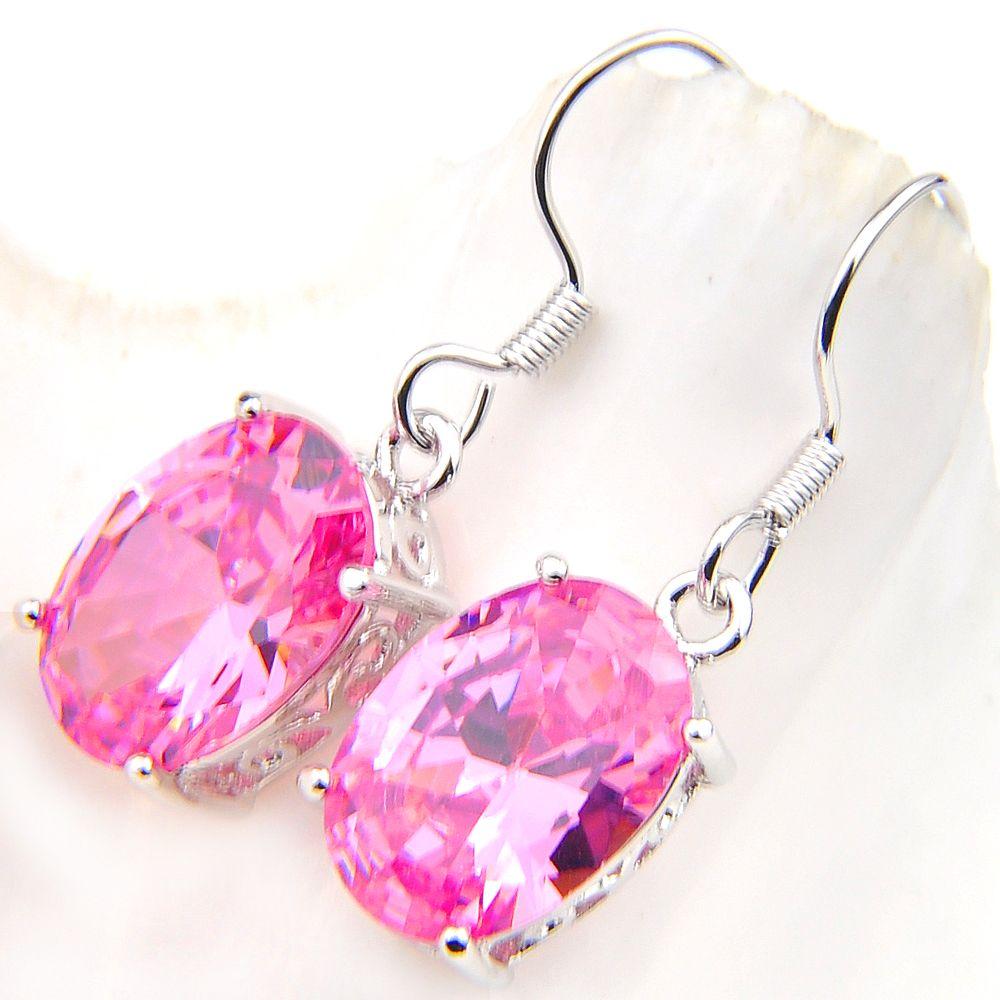 Luckyshine Mode Smycken Förtjusande Rosa Kunzite Handgjorda Örhängen 925 Sliver för kvinnor Zircon Oval Örhängen Ryssland USA Australien Present