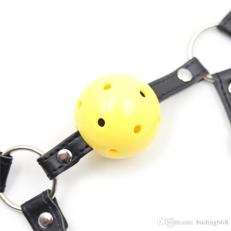New open mouth bondage yellow silica gel ball gag passion flirting BDSM mouth gags sex product toys